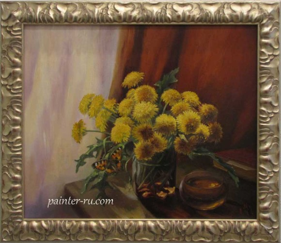 Букет цветов маслом на холсте. картина в подарок