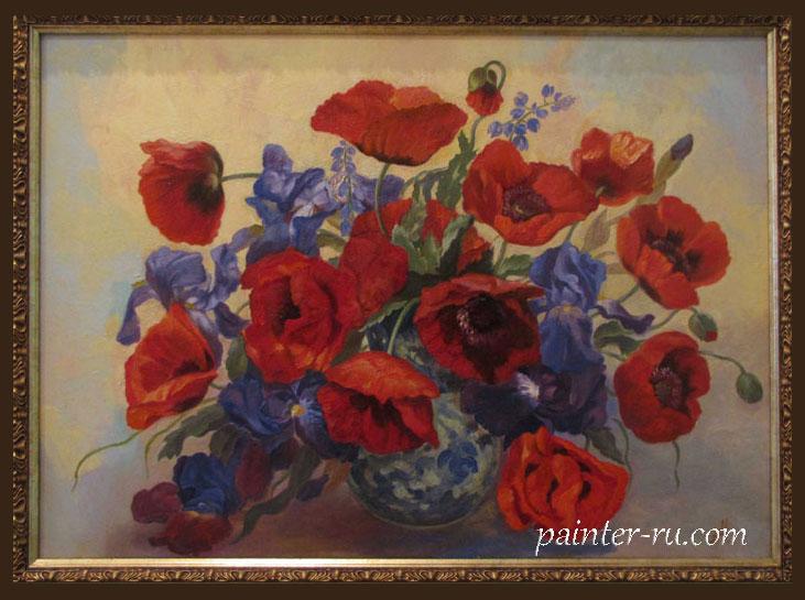 Букет цветов маслом на холсте. Картина в подарок.