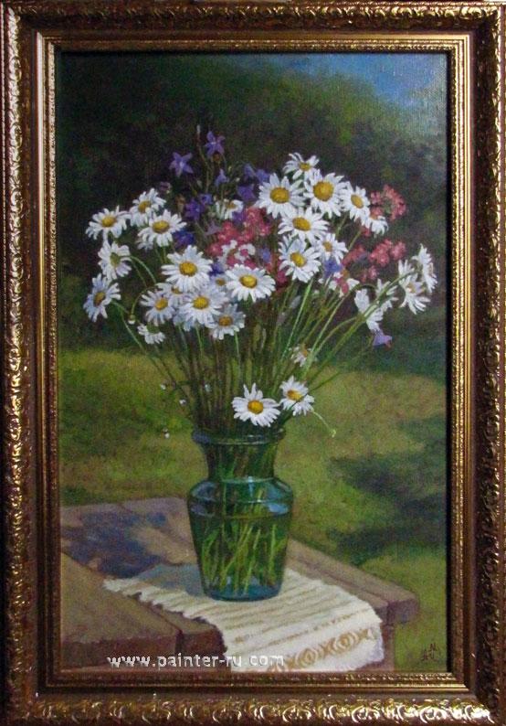 Букет цветов маслом на холсте. ромашки. живопись в подарок