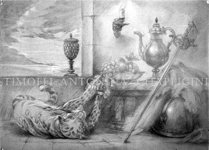 Современный художник Т. К. Чаплыгин. Эскиз картины. Рисунок.